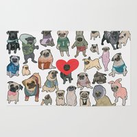 pugs Area & Throw Rugs featuring Pugs by Yuliya
