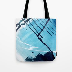 Unlocked - a pretty mixed media piece in blues, black, and white Tote Bag