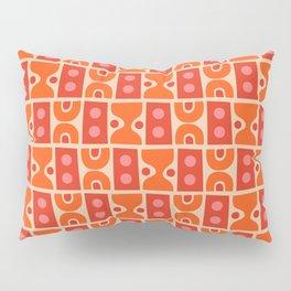 Mid Century Abstract Pattern Orange & Red Pillow Sham