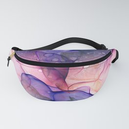 Dark Purple and Grey Flowing Abstract Painting Fanny Pack