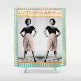 Vintage Blue Dot Shower Curtain