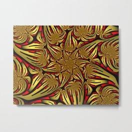 Golden and Red, Modern Fractal Art Design Metal Print