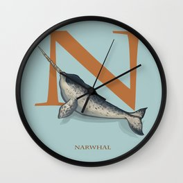 N is for Narwhal: Under Appreciated Animals™ ABC nursery decor sea life blue unusual animals Wall Clock