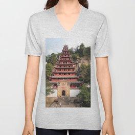 Shi Bao Zhai Buddhish temple Pagoda | Pagode Temple Buddhish Unisex V-Neck
