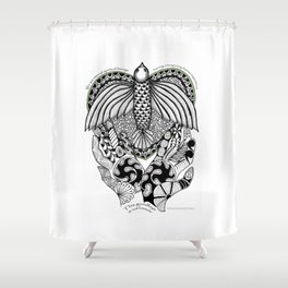 This goodbye is not forever Sympathy  - Zentangle Illustration Shower Curtain