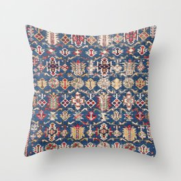Royal Blue Western Star 19th Century Authentic Colorful Dusty Blue Yellow Vintage Patterns Throw Pillow
