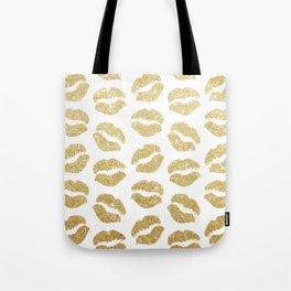 Gold Glitter Lips Tote Bag