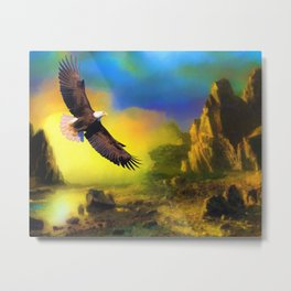 Eagle in Desert Sunset (Color) Metal Print