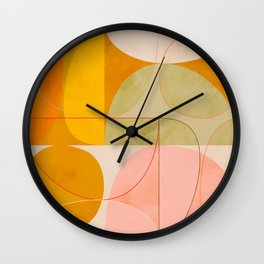 mid century geometric lines curry pink abstract art Wall Clock