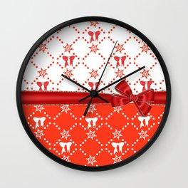 Red Ribbons and Bows Wall Clock