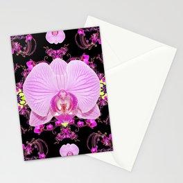 Purple Orchids Pattern Fantasy Yellow Black Art Pattern Stationery Cards