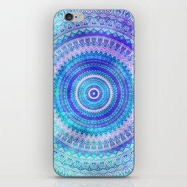 Blue Turquoise And Purple Watercolor Mandala Art iPhone Skin