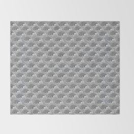 Vintage Japanese Waves, Gray / Grey and White Throw Blanket