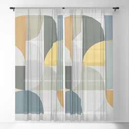 Mid Century Geometric 13 Sheer Curtain