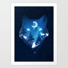 Moon Wolves Art Print