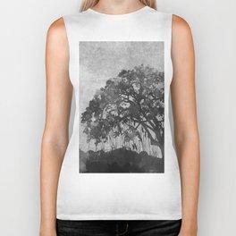 The Tree Watercolor (Black and White) Biker Tank