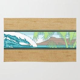 Ala Moana Diamond Head Hawaiian Surf Sign Rug