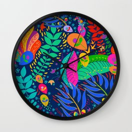 Hawaiian Garden with Parrot Wall Clock