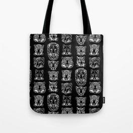 Kickass Kitties - white on black Tote Bag