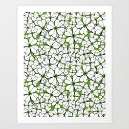 Line art - Clover : Green Art Print
