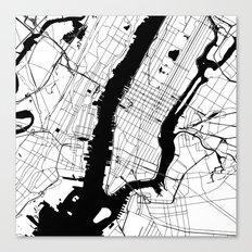 New York City White on Black Canvas Print