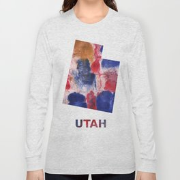 Utah map outline Red blue brown watercolor painting Long Sleeve T-shirt