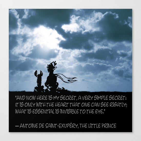 The little prince and the fox - dream version blue - quote Canvas Print