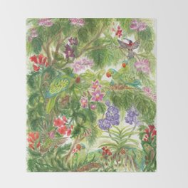 Birds and Orchids Tropical Rainforest II Throw Blanket