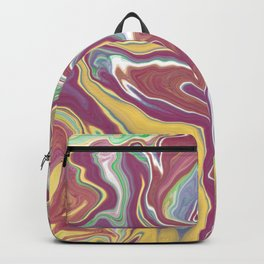 Marbling Pastelic Colors Abstract Art Digitalart Painting Nr.2 Gift Backpack