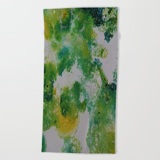 Its about space - in greens and yellows Beach Towel
