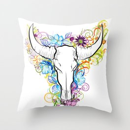 Bull skull with flowers Throw Pillow