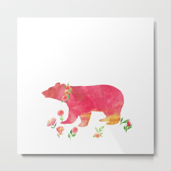 Bear with flowers - Animals Watercolor illustration Metal Print