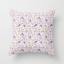 Ditsy Bunnies Amok - Purple Bunnies, Pink Background Throw Pillow