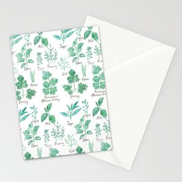 green herbs family watercolor Stationery Cards