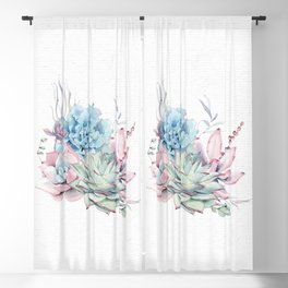 Beautiful Succulents Watercolor by Nature Magick Blackout Curtain