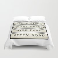 calendars Duvet Covers featuring London by Shabby Studios Design & Illustrations ..