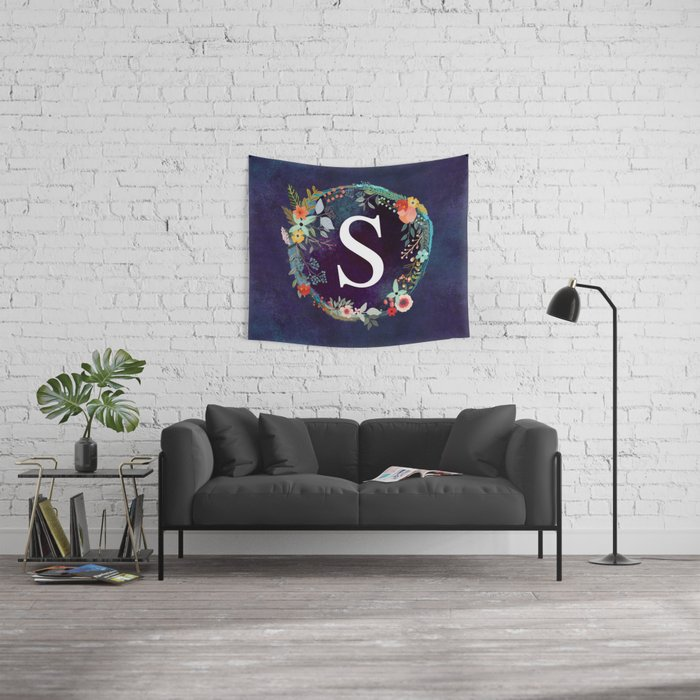 Personalized Monogram Initial Letter S Floral Wreath Artwork Wall Tapestry