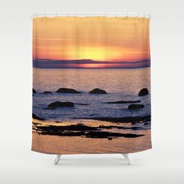 Summer's Glow and the Circle of Rocks Shower Curtain