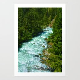 Here Be Bears - Black Bear and Wilderness River Art Print