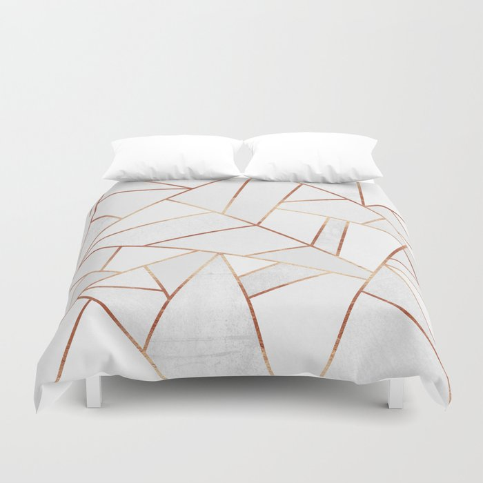 White Stone Amp Copper Lines Duvet Cover By