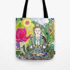 Green Tara in Paradise Tote Bag