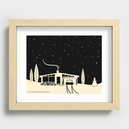 Mid-Century Snowscape in Black Recessed Framed Print