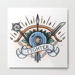 Fighter - Vintage D&D Tattoo Metal Print
