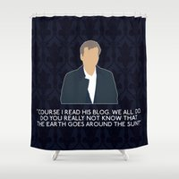 greg guillemin Shower Curtains featuring The Great Game - Greg Lestrade by MacGuffin Designs