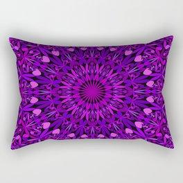 Purple Leaves Kaleidoscope Mandala Rectangular Pillow
