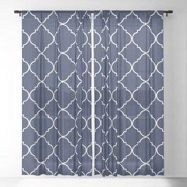 Navy Blue Moroccan Sheer Curtain