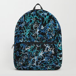 Turquoise, Teal and Black Abstract Backpack