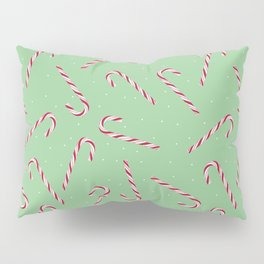 Candy Cane Christmas Pattern Design - Green Background Surface Print Pillow Sham