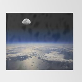 Earth and Moon Throw Blanket