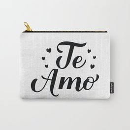 Te Amo calligraphy hand lettering. I Love You in Spanish Carry-All Pouch